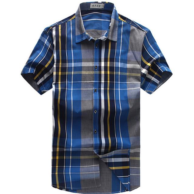 Homens verão Moda Casual camisa Xadrez de Manga Curta Plus Size camisas M005 XXL-6XL