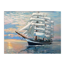 WEEN Ship Sailing Painting By Numbers Modern Sunset Ocean DIY Digital Wall Art Picture For Home Decor Scenery Oil Painting 40x50