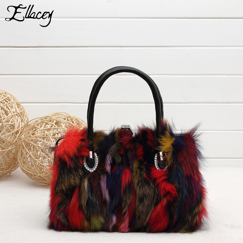 2017 Luxry Real Fox Fur Women Handbags Newest Party Multicolour Fur Bags Fox Fur Bags Ladies Fur Shoulder Bag Gift Crossbody Bag 2017 winter new clothes to overcome the coat of women in the long reed rabbit hair fur fur coat fox raccoon fur collar
