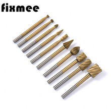 Fixmee 10pcs Titanium Dremel Routing Wood Rotary Milling File Cutter Woodworking Carving Carved Knife Tools