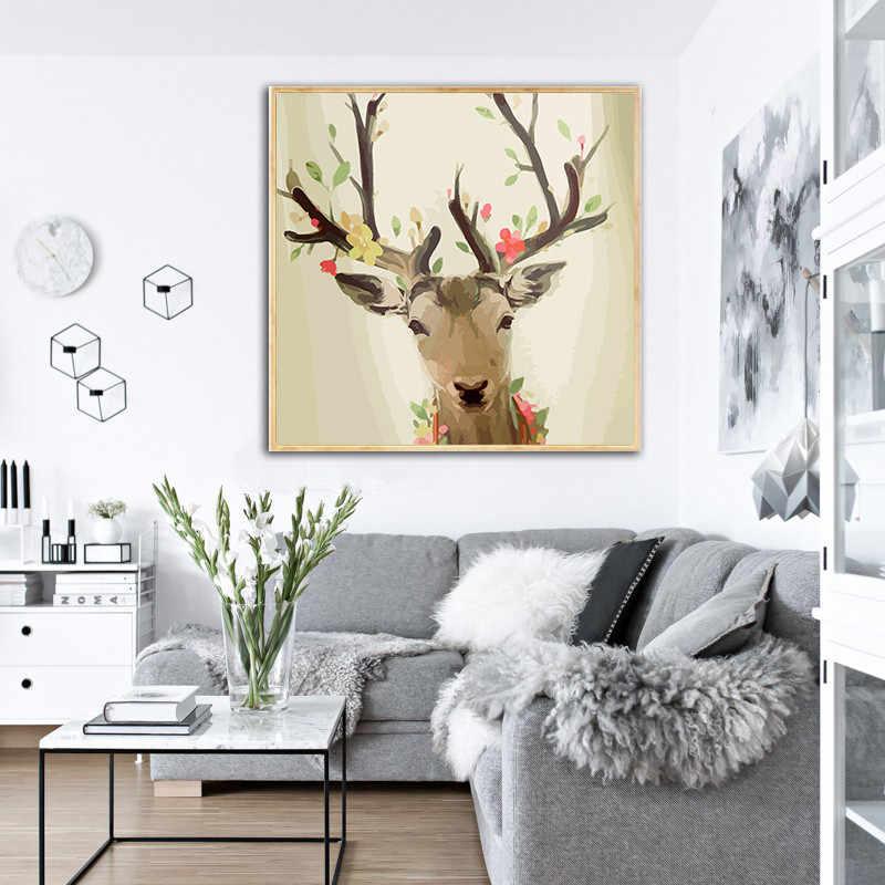 Wall Art плакат Nordic Стиль Детская украшение холст картины для Гостиная в виде геометрических фигур треугольники олень живопись, современный Минимализм