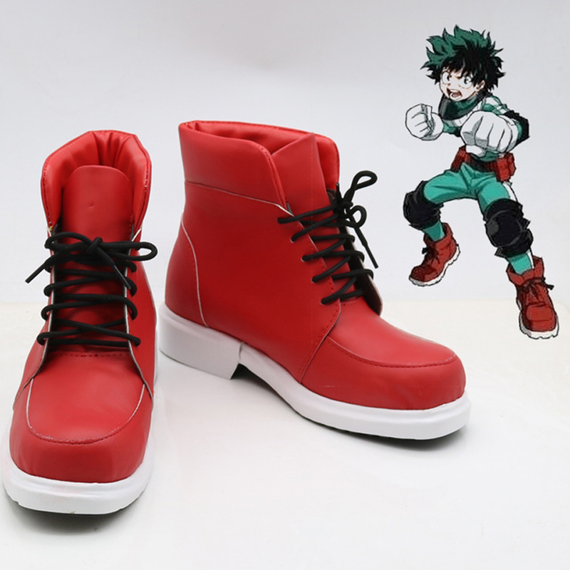 Boku No my Hero Academia Shoes Izuku Midoriya Cosplay Costume halloween Cosplay Costumes red Boots