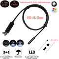 5.5mm Lens 1M Cable USB Endoscope Android OTG Phone PC Endoscopio 2in1 Mini Endoscope Camera Waterproof Inspection Camera