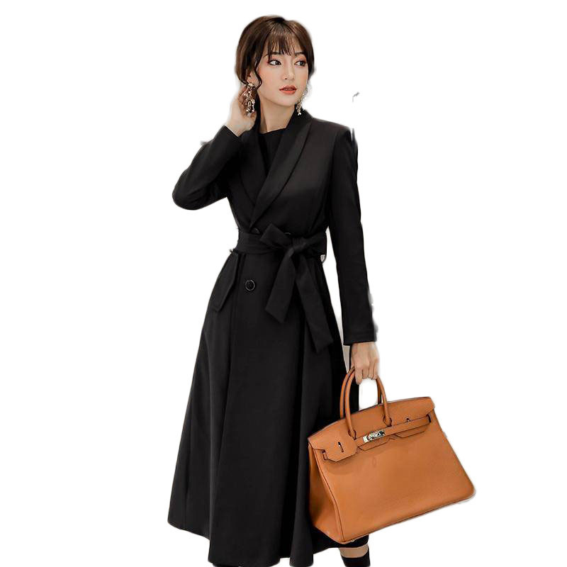 2019 Autumn Winter New Women's Casual   Trench   Coat Oversize Female Double Breasted Vintage Long Thick Outwear Slim Clothing M159