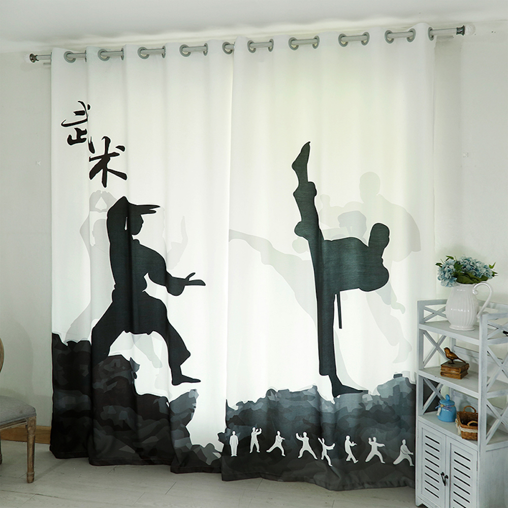 Custom Made 2x Grommet Drapery Drape Glass Curtain Nursery Kids Children Room Window Dressing 200cm x 260cm Kongfu Wushu White