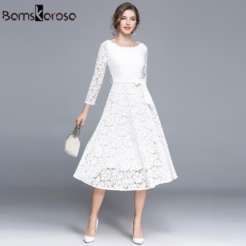 Vintage Dress Women Elegant White Lace Dress Black Evening ...