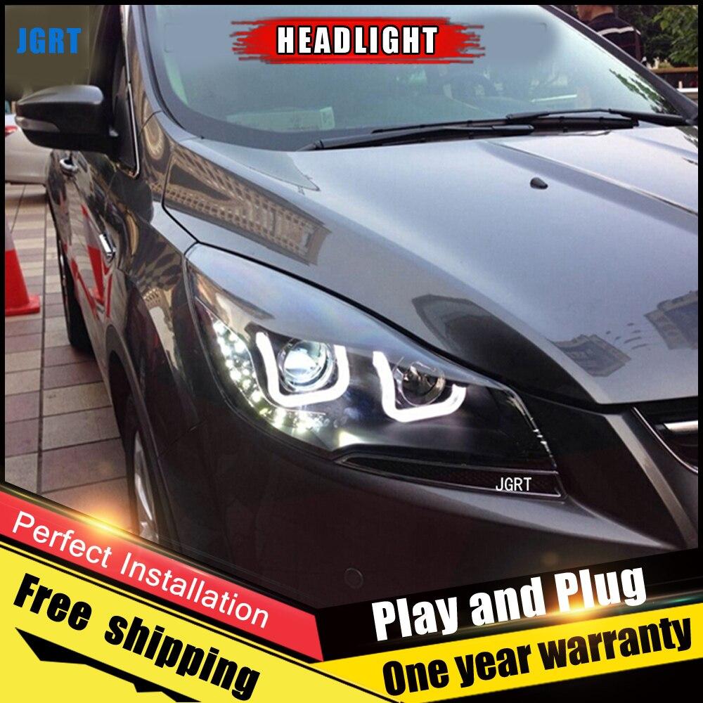 Автомобиль Стиль светодиодный фары для Ford escape 2013 2015 для побега фара светодиодный DRL Объектив Двойной Луч H7 Ксеноновые bi Xenon объектива
