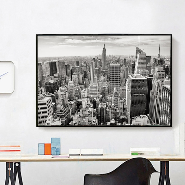 kein rahmen new york city foto schwarz wei poster moderne leinwand malerei f r wohnzimmer. Black Bedroom Furniture Sets. Home Design Ideas