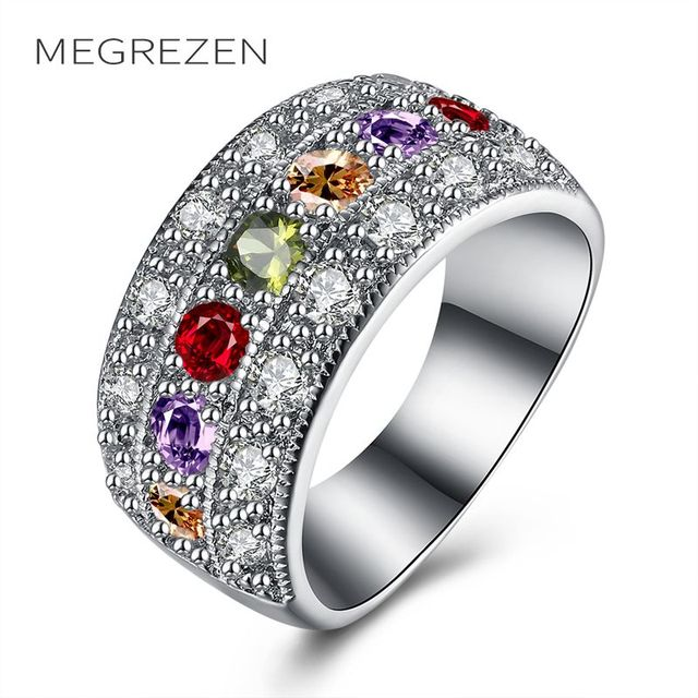 Megrezen Cubic Zirconia Ring Costume Jewelry Rings Silver Women S Wedding Bagues Boheme Grands Anneaux Pour