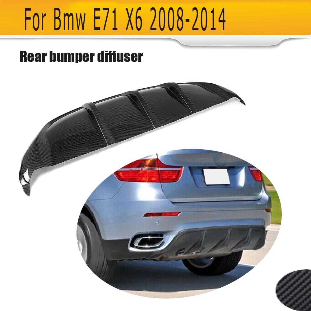 carbon fiber Car Rear Bumper Extension Lip Spoiler Diffuser for BMW X6 E71 E72 2008-2014 xDrive 35i 50i Black FRP
