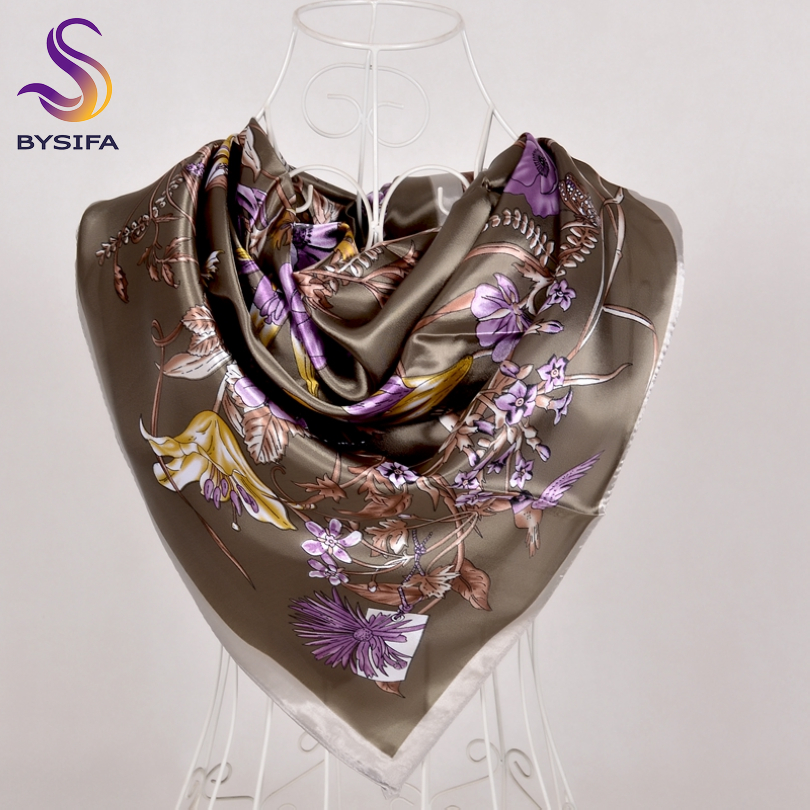 [BYSIFA] Army Green Ladies Square Scarves New Fashion Satin Women Silk Scarf Shawl 90*90cm Luxury Autumn Winter Scarves Wraps