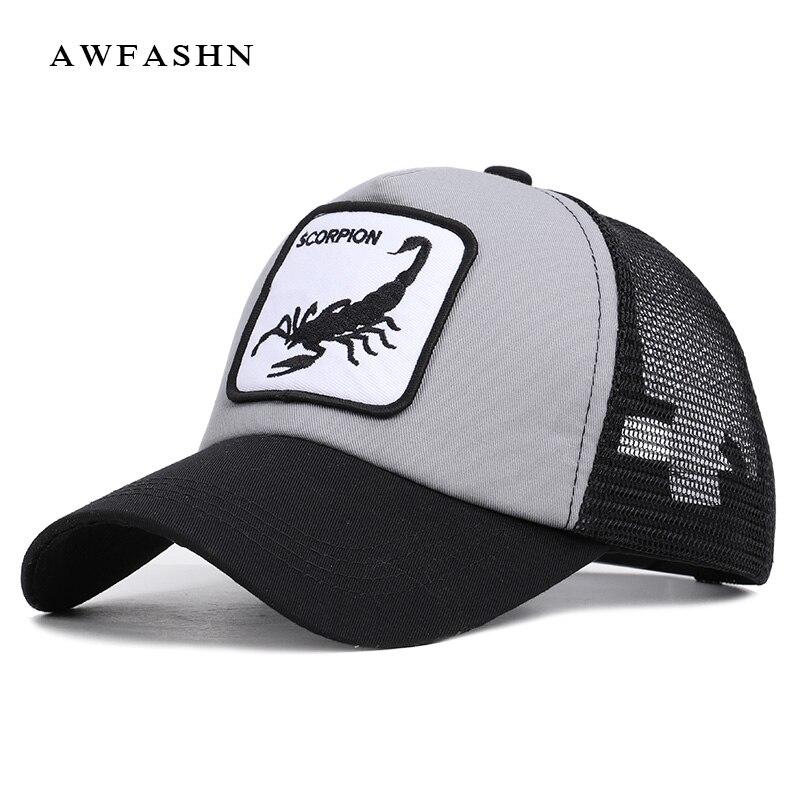 2019 New Fashion High Quality Animal Embroidery Mesh   Baseball     Cap   Scorpion Pattern Summer Hat Women Men Snapback Streetwear Bone