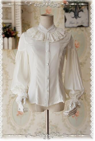 Custom Tailored Women S Blouse Swan Lake Love Chiffon Long Lantern Sleeve Girl S Shirt Four