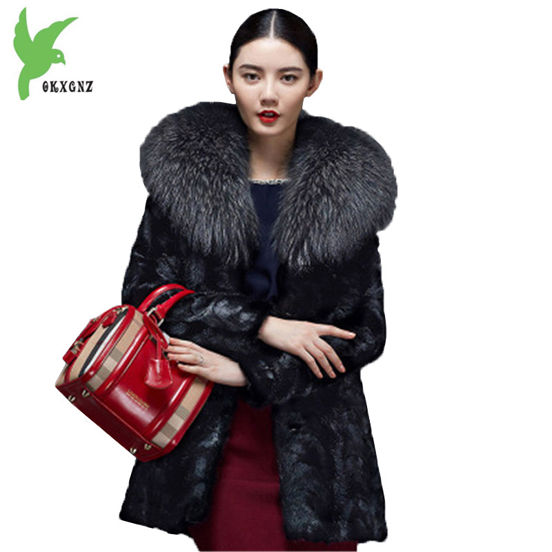 Winter Women Imitation Fur Coat New Fashion Black Mink Fur Jackets Plus Size Boutique Raccoon Dog Fur Collar Outerwear OKXGNZ826