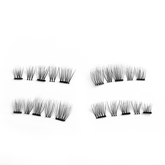 4 Pcs Handmade Triple Magnetic Natural False Eyelashes Glue-Free Reusable Lashes Wispy Gorgeous Eye lashes Makeup Tools False Eyelashes