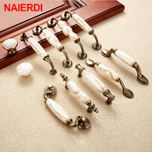 NAIERDI Marble Series Ceramic Cabinet Handles Zinc Alloy Pulls Drawer Knobs Wardrobe Door Furniture Handle