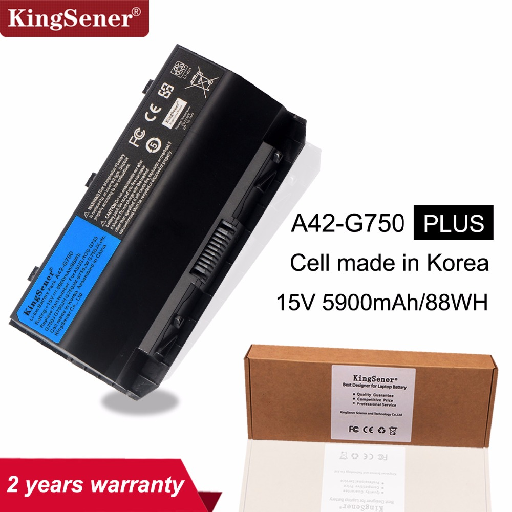 KingSener 15V 88WH Korea Cell A42-G750 Battery For ASUS ROG G750 G750J G750JH G750JM G750JS G750JW G750JX G750JZ Series 5900mAh