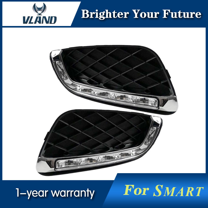 2Pcs White LED Daytime Running Light for Mercedes Benz Smart Fortwo DRL 2008 2009 2010 2011 6 led white ip68 day running light for benz e series pair