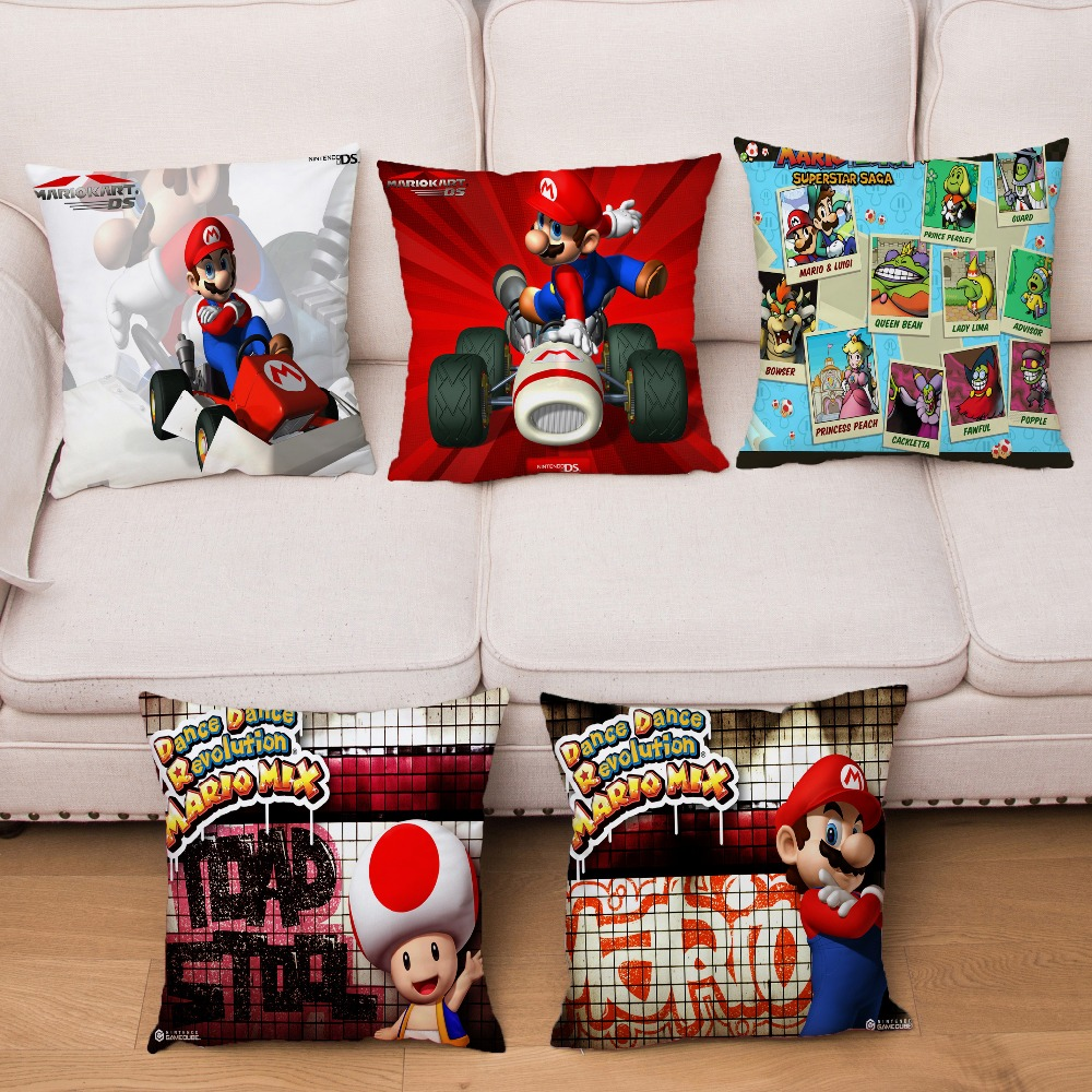 Super Soft Short Plush Cushion Cover Super Mario Print Pillow Covers 45*45cm Throw Pillows Cases Sofa Home Decor Pillowcase
