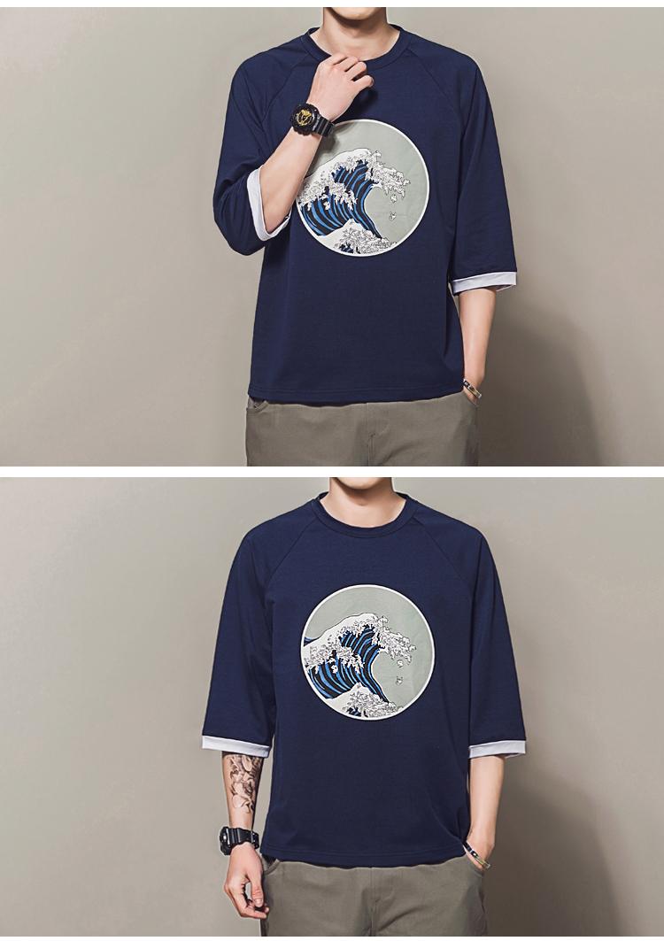 aa9e4e2bd6d US $13.74 35% OFF|Mens T Shirts Fashion 2018 Waves Print Harajuku Japanese  T shirt Men Streetwear Raglan Three Quarter Sleeve Casual Baggy Tshirt-in  ...