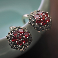 925 Sterling Silver Red Zircon Clip Earring With Marcasite Women Vintage Thai Silver Gift Brincos Aretes
