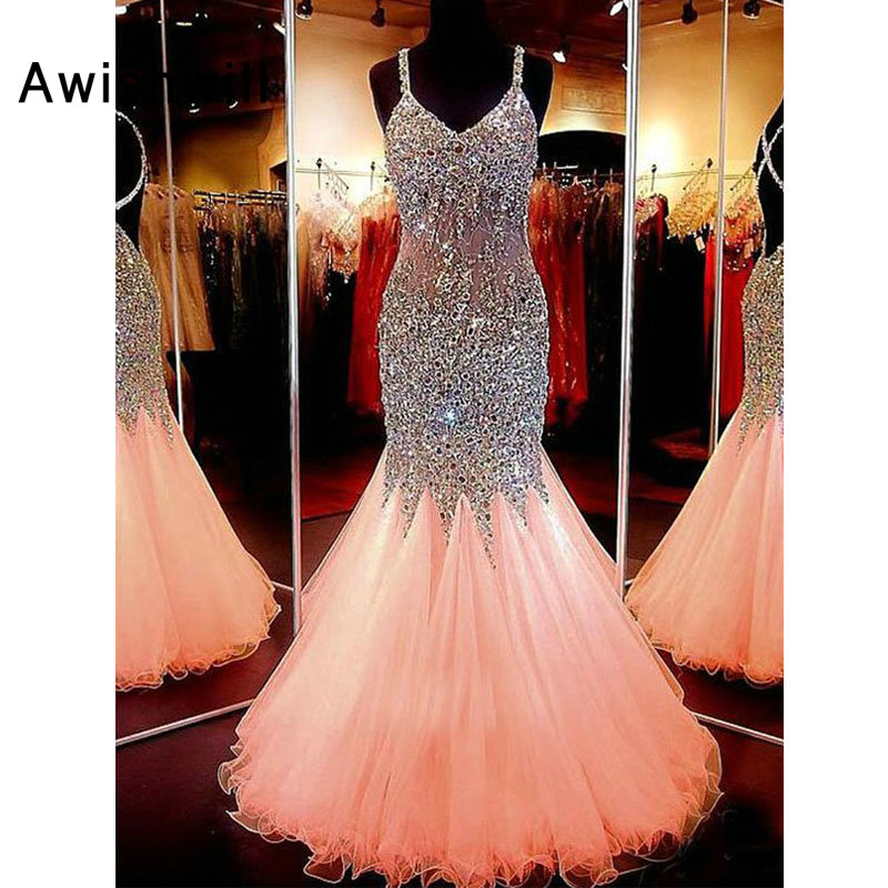 Stunning Mermaid Long   Prom     Dresses   2019 Sexy Backless Formal Evening   Dress   Beadings Tulle Spaghetti Strap Women Party Gown