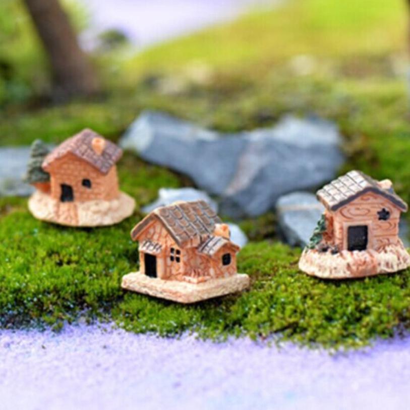 Kids Mini Dollhouse Stone House Resin Decorations For Home And Garden DIY Mini Craft Cottage Landscape DecorationCDropship jun25