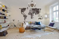 World Map With Black Letters Wall Stickers Marking All Cuntries Locations Home Art Wall Decor Decals