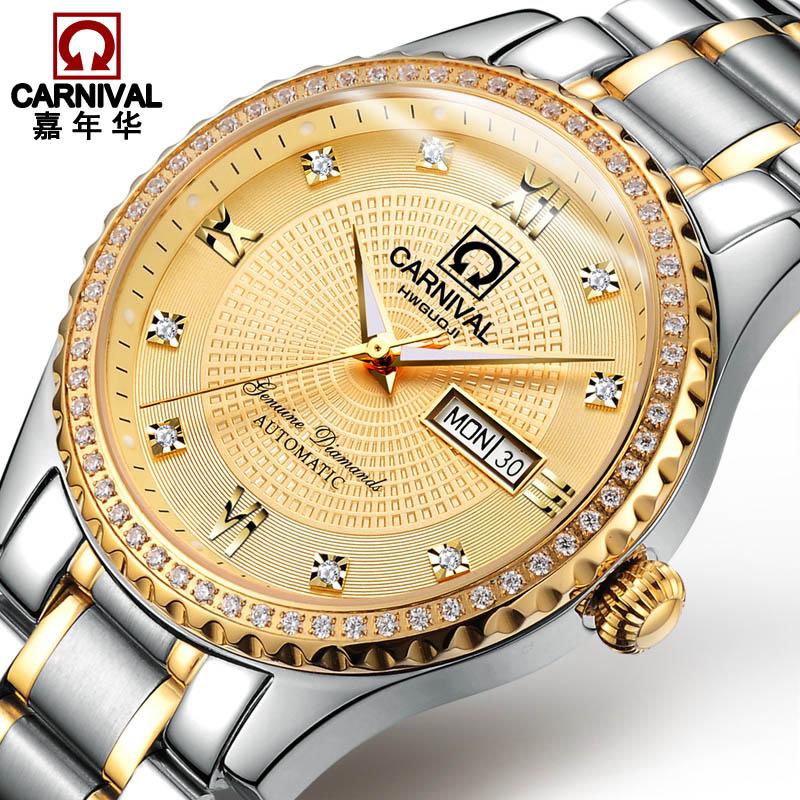 Оригинальный карнавальный роскошные золотые Бизнес часы лучший бренд Авто механические часы Для мужчин двойной неделю календарь Сапфир Во...
