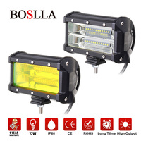 BOSLLA Led Work Light Bar Offroad 5inch 4x4 Work Led 72W Driving Headlight Fog Light Yellow