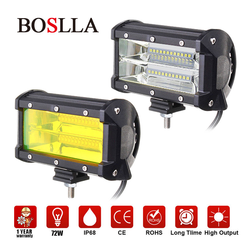 LED Work Light Bar 4x4 Work Led 12V 5inch Offroad 72W Driving Headlight Fog Light Yellow For Off road Lamp Car SUV ATV 1X BOSLLA 5inch new led driving light 40w led headlight low beam lamps for car truck suv atv marine new external light x2pcs free shipping