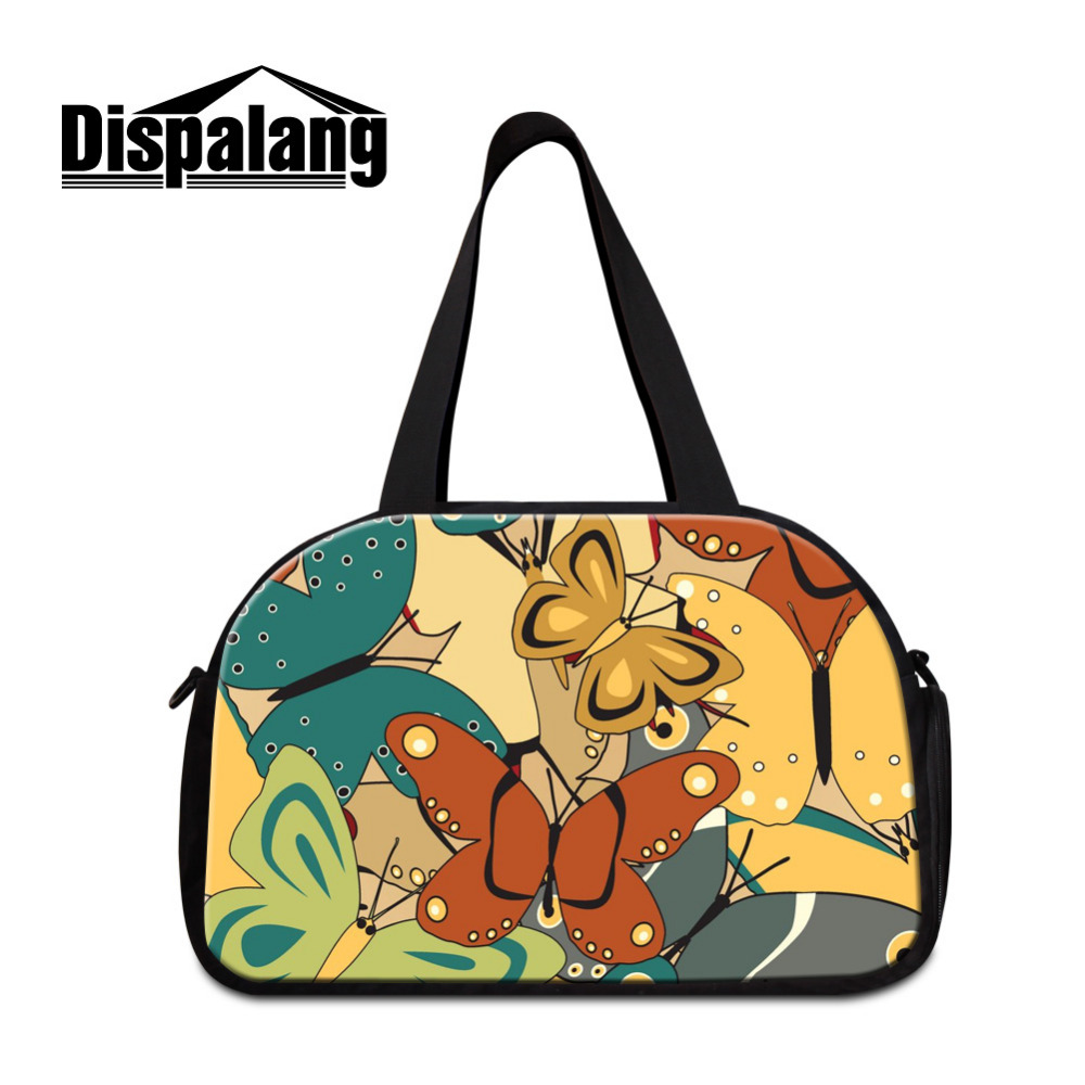 Dispalang Butterfly Big Duffle Bag Tote Womens Travel Bags Flower Print Carry on Traveling Luggage Bags Large Road Weekend Bag
