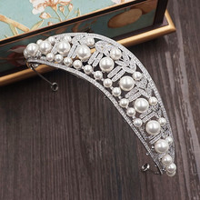 Cubic Zircon Tiara CZ Crown Pearl Imitation Tiaras Diadema Wedding Hair Accessories Hair Jewelry Bijoux Cheveux Coroa WIGO1065