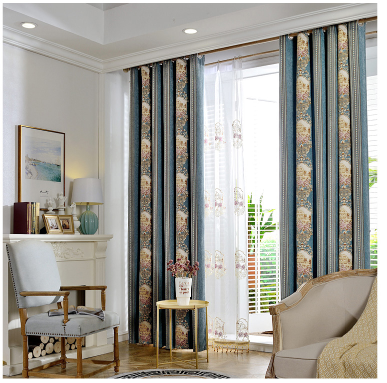 US $110.9 |Embroidered Blue French Curtains For Living Room Blackout Blinds  For Bedroom Balcony Yarn Drapes Voile Tulle cortina de quarto-in Curtains  ...
