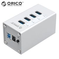 ORICO 4 Port Aluminum High Speed Multifunction USB 3.0 HUB with Power Adapter and Data Cable usb switch Silver(A3H4)