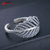 Arvato Authentic 925 Sterling Silver Ring Feather CZ Zircon Wedding Rings For Women Fashion Jewelry