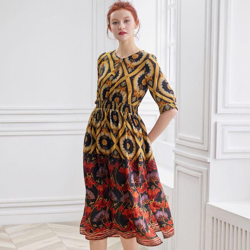 100% soie robe femmes imprimé bouton O cou demi manches élastique taille Grade tissu longue robe été nouvelle mode 2019