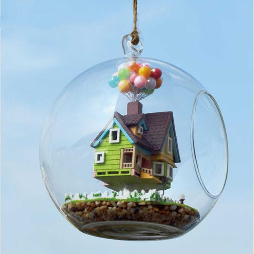 Novelty DIY House Glass Ball Flying Cabin Toy Pixar Film Up Model With Miniature Furnitures Wooden Handmade Model Gift Toy