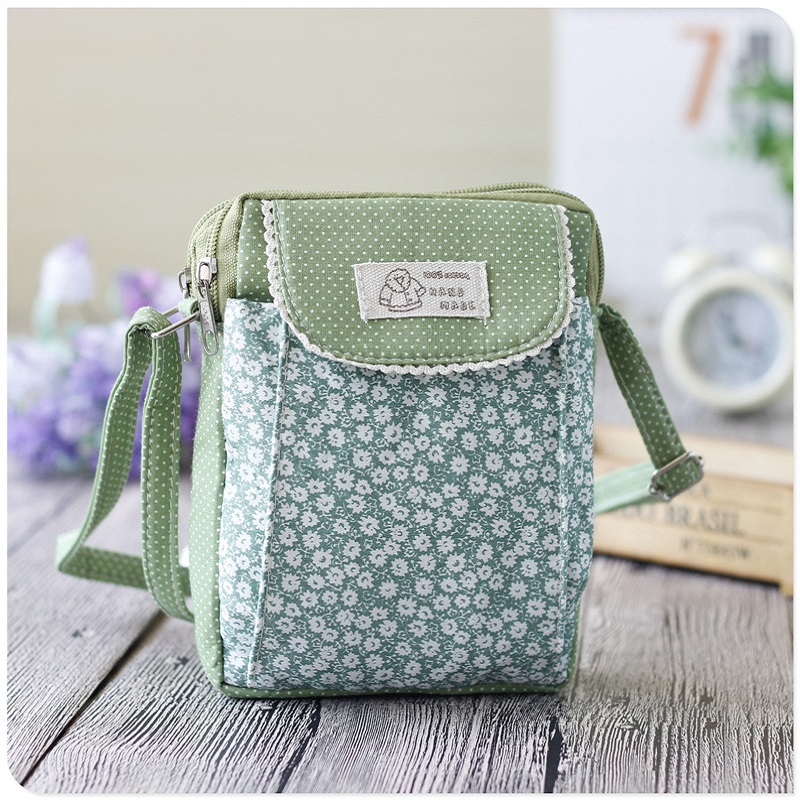 Cotton chidren school bags floral Chrysanthemum printing kids messenger travel bag small phone pouch for kindergarten baby girls