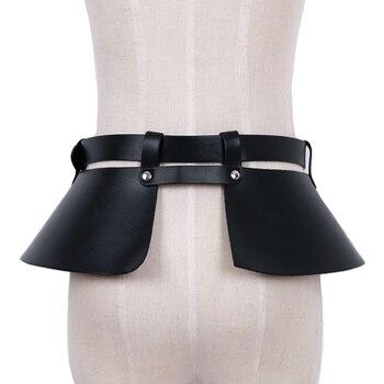 ホット販売革スカートパンクカジュアルベルト女性レジャーバウンド装飾スプリット革広いベルトガードルキャットウォーク野生temperamen
