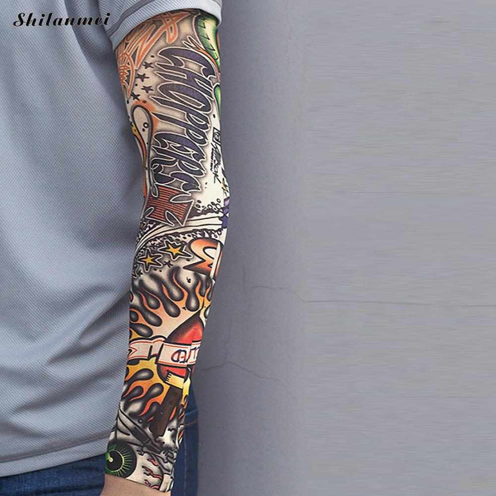1pc Punk Tattoo Sleeve Men Women Fake Temporary 3d Designs Elastic Quick Dry Cool Body Arm Printed Sun Protection Stockings