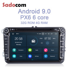 PX6 IPS 2 din 8 ''Android 9.0 Jogador Do Carro DVD Núcleo 64 4GB RAM ROM G RDS autoradio mapa WI-FI DAB + Para VW POLO GOLF PASSAT TPMS B5 B6(China)