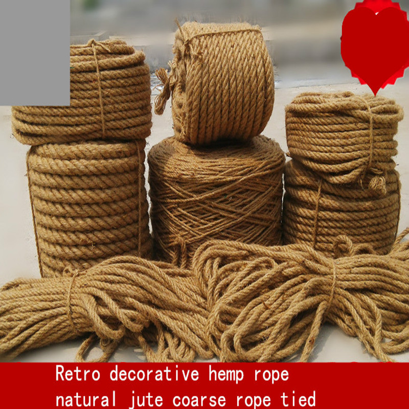 1/5/6/8/14mmCoarse and fine hand-woven hemp rope diy Photo wall Retro crafts  fence decorative rope natural jute twine tied rope
