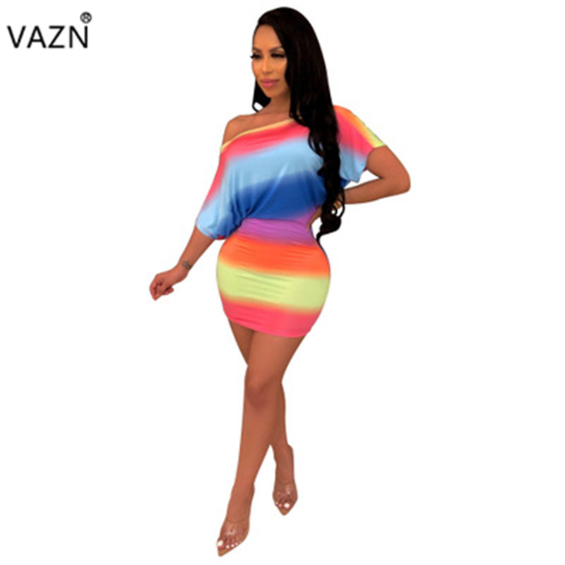 VAZN 2019 <font><b>Sexy</b></font> Club Little <font><b>Chap</b></font> Style Women Slash Neck Short Sleeve Bodycon Dress Multi Color Lady Hollow Out Mini Dress WSM5090 image