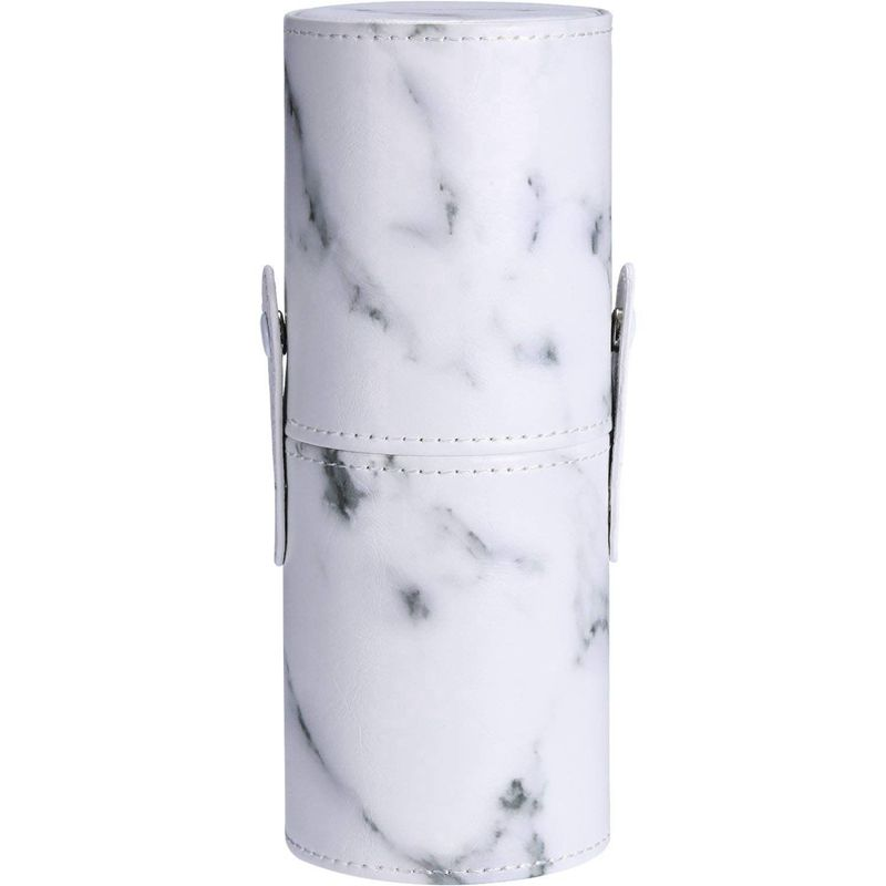 PU Leather Marble Pattern Portable Makeup Brush Holder Cosmetics Make Up Cup Storage Organizer Case