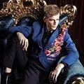 Тонкий bleiser masculino Royal мужчина 2017 однобортный осень confeitaria синее пальто костюм дизайн blazer blaser masculino