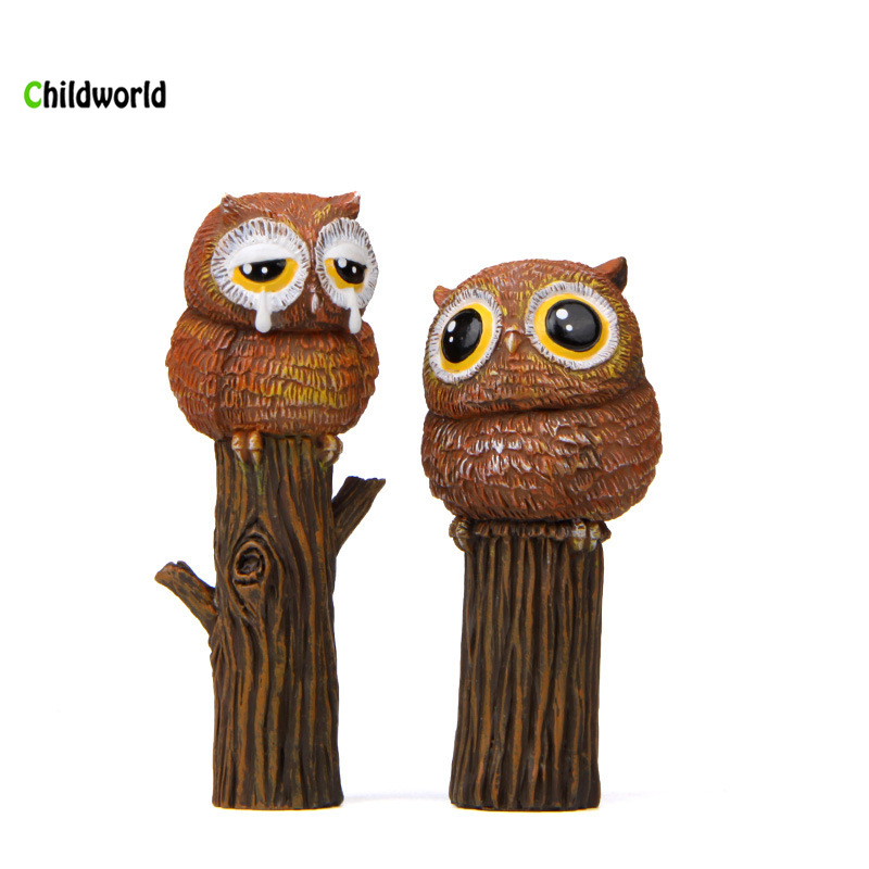 Owl standing tree decoration micro landscape gardening DIY meaty small flowers plug in props shooting props home decorations in Figurines Miniatures from Home Garden