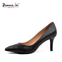 Donna-en haute talons pompes serpent motif véritable cuir femmes chaussures bout pointu mince talon printemps dames chaussures en peau de mouton en cuir
