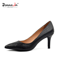 Donna in high heels pumps snake pattern genuine leather women shoes pointed toe thin heel spring ladies shoes sheepskin leather
