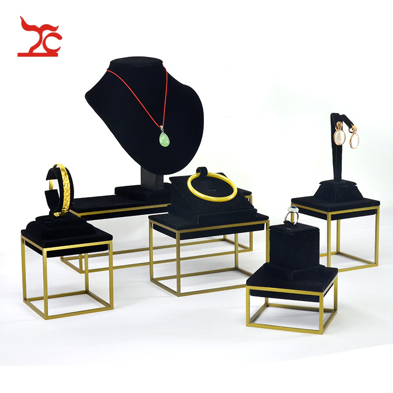 New Stainless Steel Gold Jewelry Display Showcase Black PU Bracelet ...